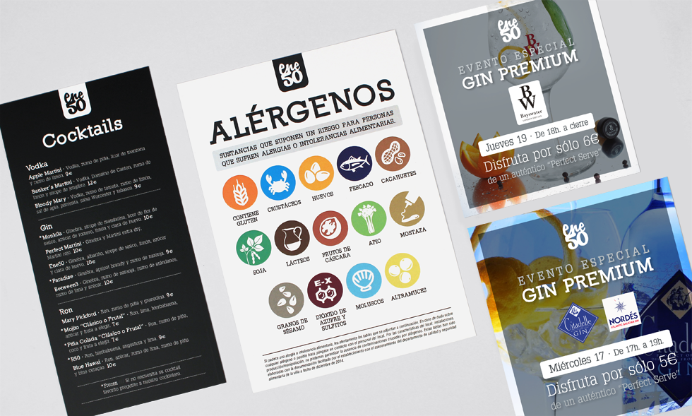 Flyers Cocktails, Alérgenos e Invitación Afterwork